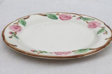 vintage Metlox pottery Camellia pink rose & branch floral china platter or cake plate
