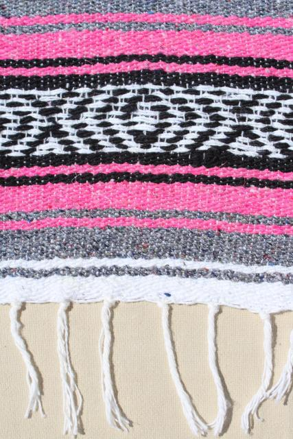 vintage Mexican Indian blanket rug serape striped acrylic blankets, pink, red striped