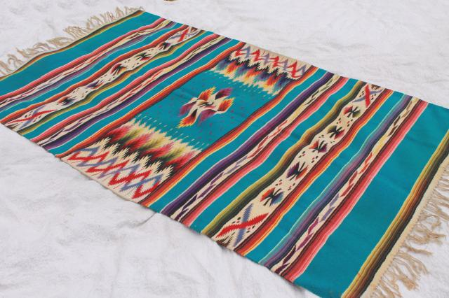 Vintage Mexican Indian Wool Blanket Rug W Fringe Turquoise Bright Colors