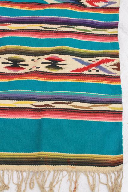 Vintage Mexican Indian Wool Blanket Rug W Fringe