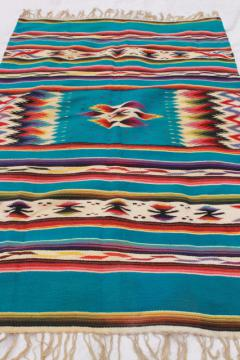 vintage Mexican Indian wool blanket rug w/ fringe, turquoise w/ bright colors