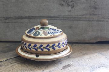 vintage Mexican Tonala pottery smoke set, tobacco jar & ashtray, hand painted in Mexico