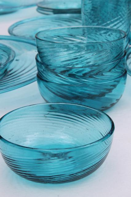 vintage mexican art glass dishes azure aqua blue hand blown glassware  mexico