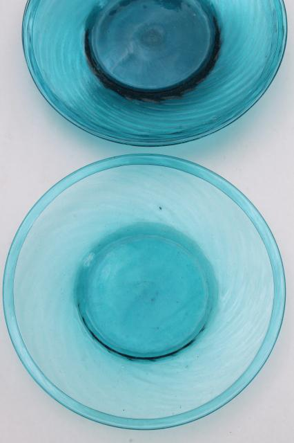 Vintage Mexican Art Glass Dishes Azure Aqua Blue Hand