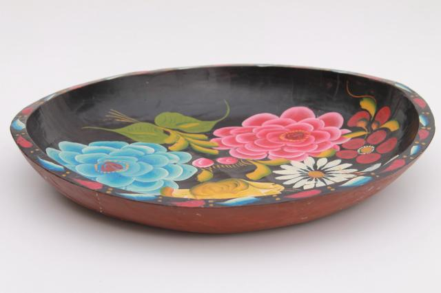 vintage Mexican batea tray, carved wood bowl w/ bright hand painted flowers on black
