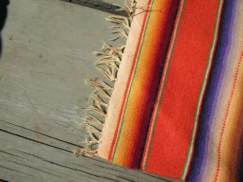 vintage Mexican blanket table mat or runner, hand-woven in Mexico