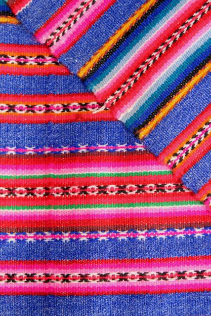 vintage Mexican blanket tablecloth table cover, handwoven bright striped cloth