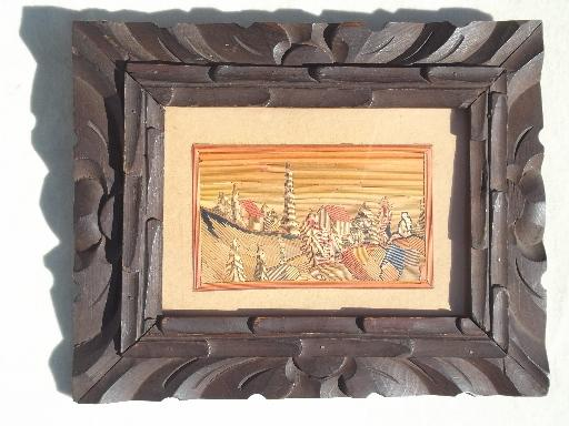 Vintage Mexican Carved Wood Frame W Colored Straw Folk