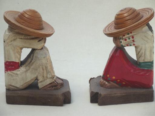 vintage Mexican folk art book ends, hand painted carved wood bookends set