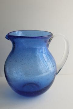 vintage Mexican glass pitcher, cobalt blue water jug hand blown seeded glass