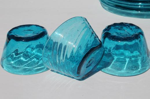 Vintage Mexican Glass Plates Amp Bowls Hand Blown Aqua Blue