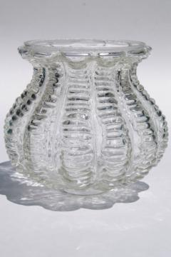 vintage Mexican hand blown glass light shade, textured clear glass melon shape globe hurricane