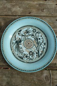 vintage Mexican pottery, Felix Tissot Taxco Mexico ceramic charger plate or round tray