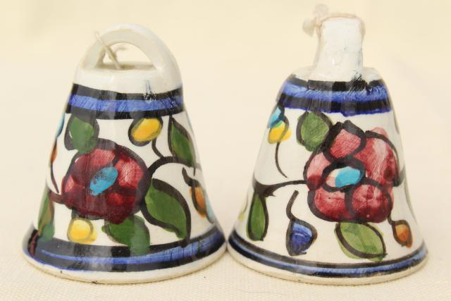 vintage Mexican pottery bells, hand painted rustic folk art wind chimes