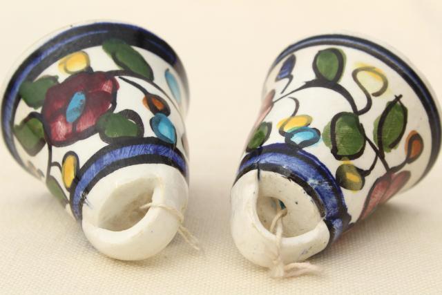 Wonderful vintage Mexican pottery bells, hand painted rustic folk art wind  UL72