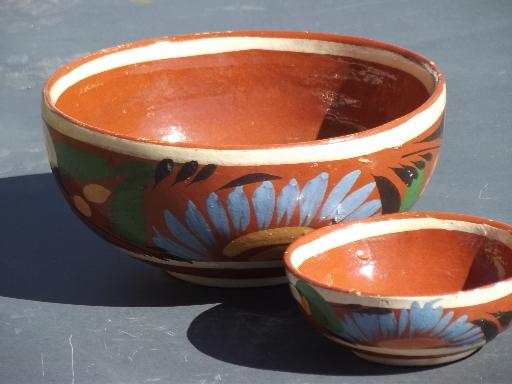 vintage Mexican pottery bowls, hand-painted chips and salsa bowl set