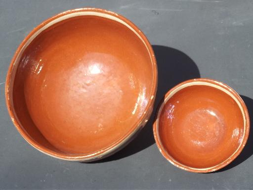 Vintage Mexican Pottery Bowls Hand Painted Chips And
