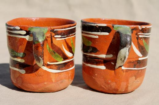 Vintage Mexican Pottery Coffee Mugs Or Chocolate Cups