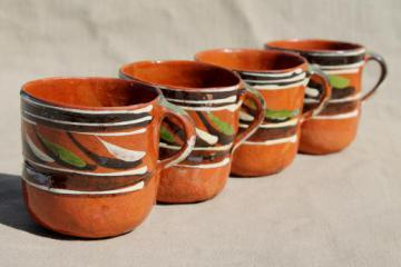 vintage Mexican pottery coffee mugs or chocolate cups, hand-painted terracotta