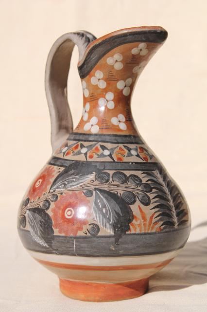 Vintage Mexican Pottery Pitcher Tonala Style Hand Painted