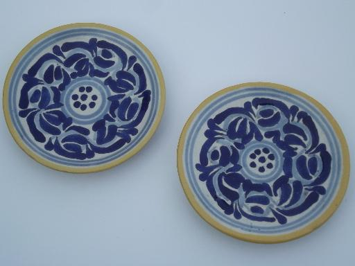 vintage Mexican pottery plates, old blue and white handpainted redware