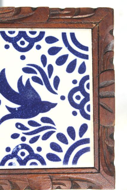 vintage Mexican pottery tile trivet, blue & white ceramic tile tray w/ rustic wood frame