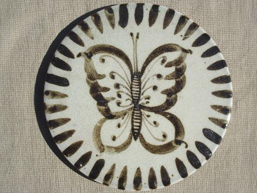 vintage Mexican pottery trivet tile, rustic hand painted pottery Mexico
