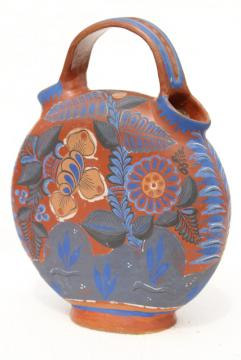 vintage Mexican pottery water bottle or wine jug, terracotta w/ hand painted flowers cobalt blue
