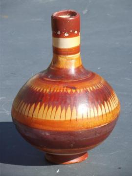 vintage Mexican pottery wine water carafe bottle jug, Mexico hand-painted