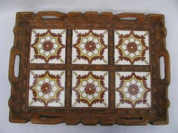 vintage Mexico, carved wood tray w/ hand painted Mexican tiles