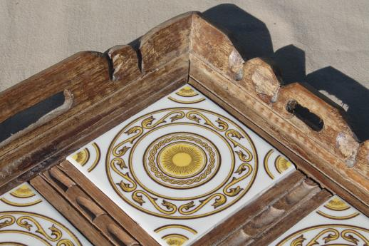 vintage Mexico carved wood trays w/ hand-painted Mexican pottery tiles