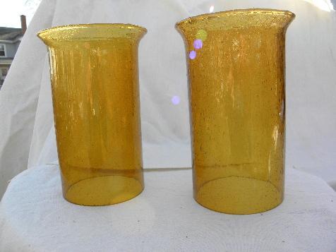 Vintage Mexico Hand Blown Amber Glass Hurricane Shades