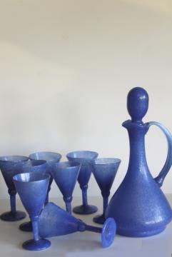 vintage Mexico hand blown glass wine glasses & decanter bottle, smoky dusk blue opaque glass