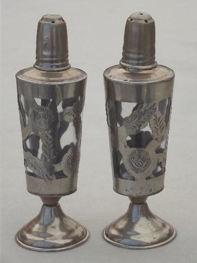 vintage Mexico hand tooled metalwork shakers set, nickel silver over brass