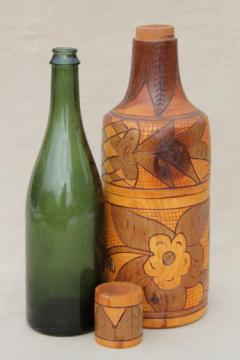 vintage Mexico hand-carved wood wine bottle carrier case / carafe