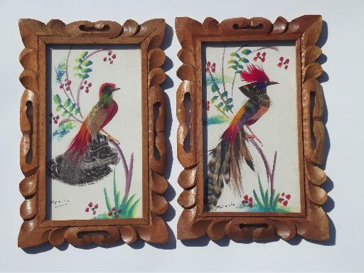vintage Mexico hand-painted feather birds pictures in carved wood frames