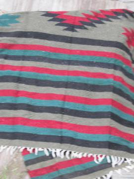 vintage Mexico huge handwoven Indian blanket rug, red/green/black/brown