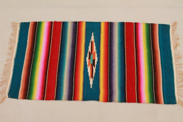 vintage Mexico saltillo handwoven wool table runner, cloth mat w/ serape blanket stripes