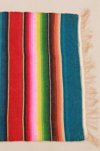 vintage Mexico saltillo handwoven wool table runner, cloth ...