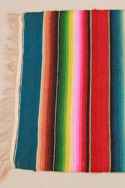 Vintage Mexico Saltillo Handwoven Wool Table Runner Cloth Mat W Serape Blanket Stripes