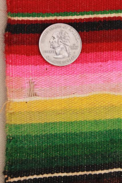 Vintage Mexico Saltillo Handwoven Wool Table Runner Cloth