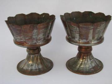 vintage Mexico, tinned copper candlesticks candle holders pair