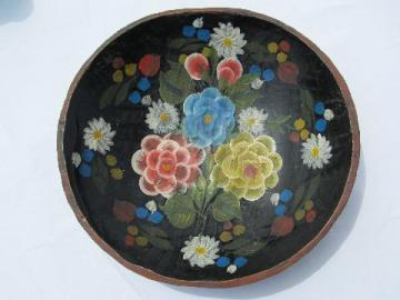 vintage Mexico, wood batea bowl, bright hand-painted flowers on black