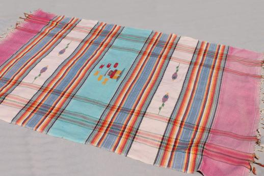 vintage Mexico woven cotton tablecloth or bed cover w/ Mexican serape stripes