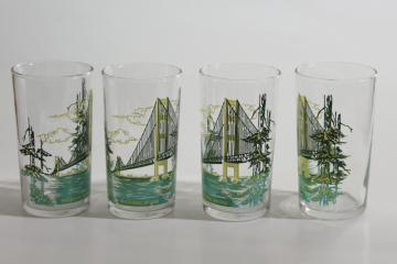 vintage Michigan souvenir drinking glasses, Mackinac Island bridge print tumblers
