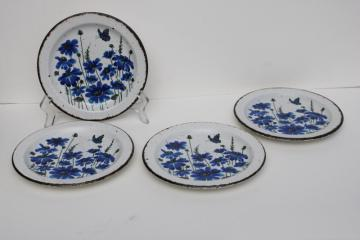vintage Midwinter Stonehenge stoneware pottery salad plates, Spring blue flowers