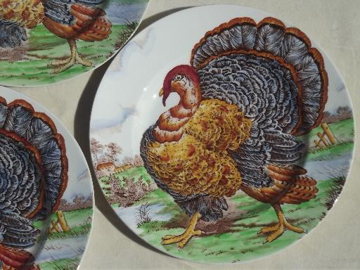 & vintage Midwinter / Wedgwood china Thankgiving turkey dinner plates set