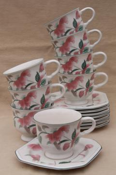 vintage Mikasa Silk Flowers Japanese inspired floral pattern china tea cups & saucers set