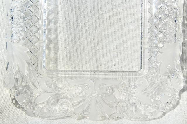 vintage Mikasa crystal clear & frosted glass frame or tray