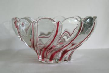 vintage Mikasa crystal red peppermint striped swirl bowl, Walther glass
